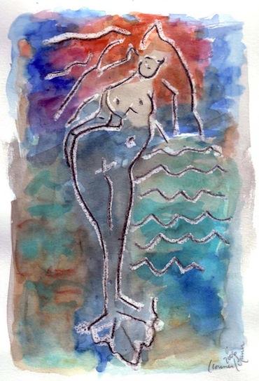 Aquarelles - Peintures - Femmes - Sirènes - eaux
