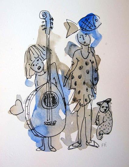 Banjo - Aquarelles - Encre de Chine - Poissons - Chats - Animal - Animaux - Femmes - Instruments de musique - Coeurs - Peintures - Dessins