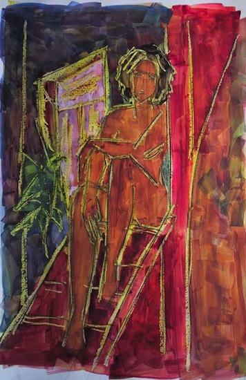 Sagine, Rouge - Peintures - Aquarelles - Femmes - Nus - Nues