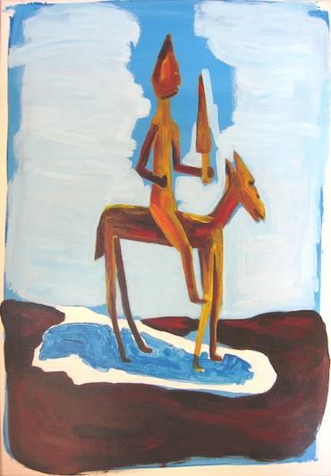 Peinture - Chevaux  - Cavalier de la cosmogonie à la lance - Animal - Animaux - Cheval