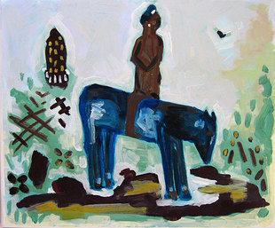Chevaux et cavaliers - Cavalier de la cosmogonie à la ruche - Animal - Animaux - Cheval - Peintures - Hommes - Acryliques