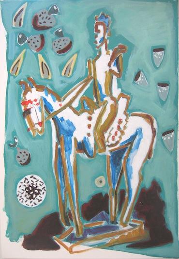 Peinture - Animal - Animaux - Chevaux - Cheval - Cavalier de la  cosmogonie aux graines
