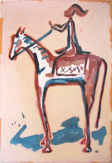 Peinture - Chevaux - Cheval - Cavalier de la cosmogonie fond crème - Animal - Animaux