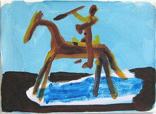 Chevaux et Cavaliers - Petit cavalier de la cosmogonie N° 1 - Peintures - Acryliques - Animal - Animaux - Cheval - Hommes - Lances