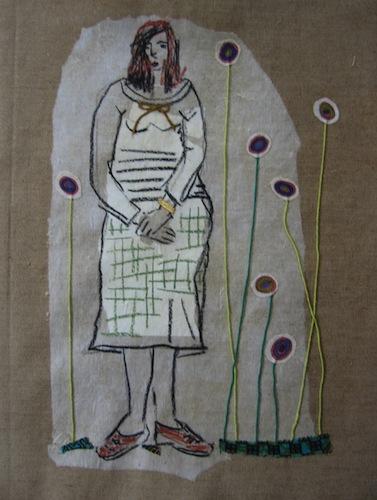 Femmes - 2012 - Aux-ronds - Collages - Techniques mixtes - Papiers collés - Tissus - Fleurs