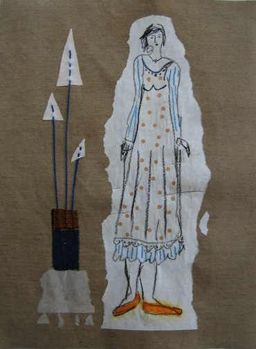 Femmes - 2012 - Aux triangles - Techniques mixtes - Papiers collés - Collages