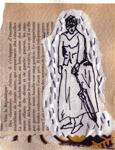 Techniques mixtes - Papiers collés - Tissus - Collages - Femmes - 2012 - Averse