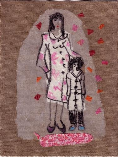 Techniques mixtes - Collages - Papiers collés - Femmes - 2012 - Couple  aux chaussures bleues