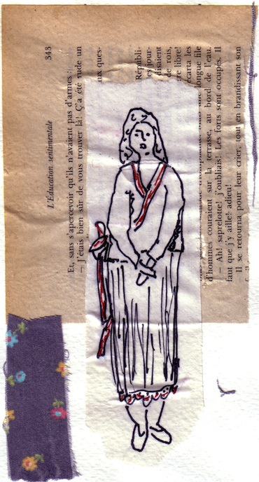 Femmes - 2012 - Fleur bleue - Fleurs - Techniques mixtes - Collages - Papiers Collés - Tissus