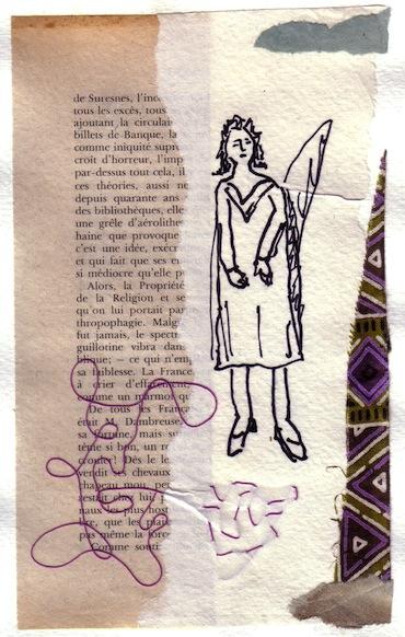 Femmes - 2012 - L'ange - Collages - Papiers collés - Techniques mixtes - Tissus
