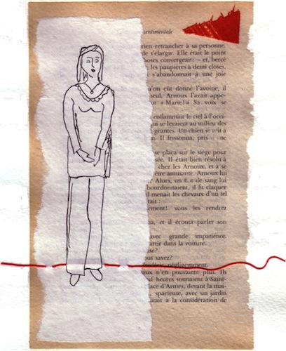 Femmes - 2012 - Collages - Papiers collés - Le fil rouge - Techniques mixtes