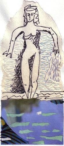 Femmes - 2012 - Les pieds dans l'eau - Collages - Papiers collés - Techniques mixtes