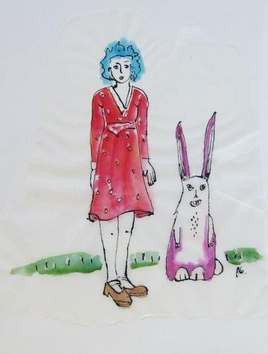 Femmes - Peinture - 2013 - Alice et Leuk - Lapin - Animal - Animaux