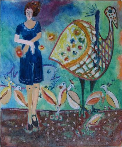 Femmes - 2013 - Avec pintades - Animal - Animaux - Peinture