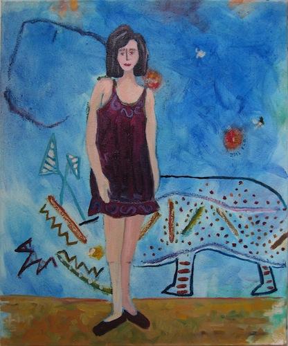 Peinture - Femmes - 2013 - Avec rhinoceros - Animal - Animaux