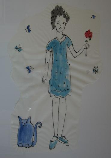 Peinture - Femmes - 2013 - Chat Bleu - Animal - Animaux - Fleurs - Collages - Papiers collés - Techniques mixtes