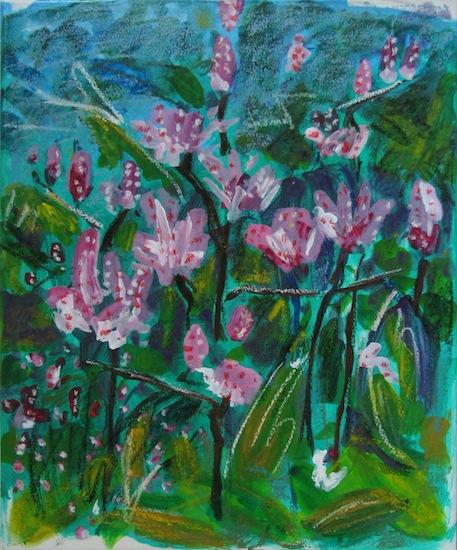 Natures - Fleurs - Lys rose - Verts - Bleu - Roses - Flores