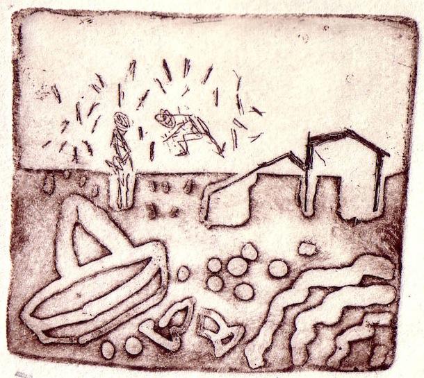 Taille douce - Village de pêcheurs - Tailles douces - Gravures - Maisons - pêcheurs - Animal - Animaux - Poissons - Hommes - Femmes