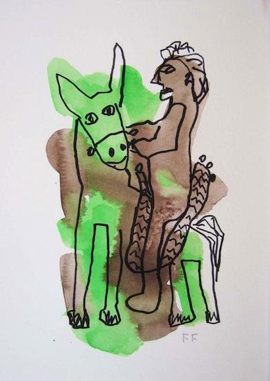 Cavalier vert - Aquarelles - Dessins - Encre de Chine Animal - Animaux - Hommes