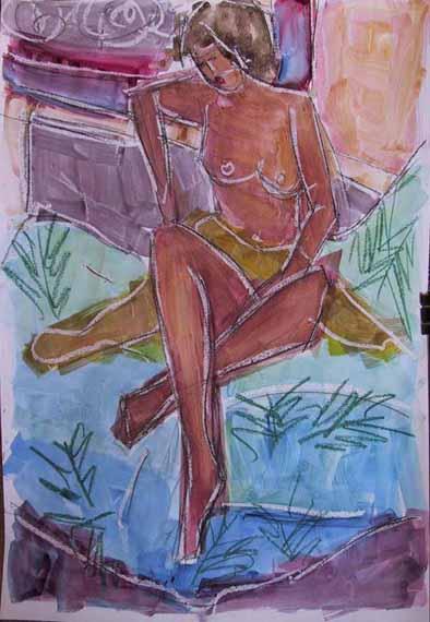 Centaurée - Peintures - Aquarelles - Femmes - Nus - Nues