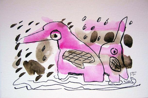 éléphant rose - Dessins - Aquarelles - Encre de Chine - Animal - Animaux