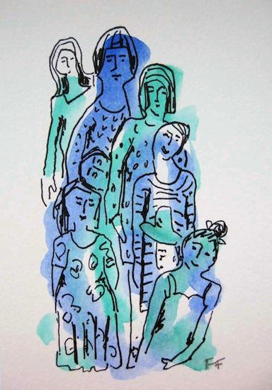 Groupe bleu - Aquarelles - Dessins - Encre de Chine - Hommes - Femmes - Enfants - Groupes - Familles
