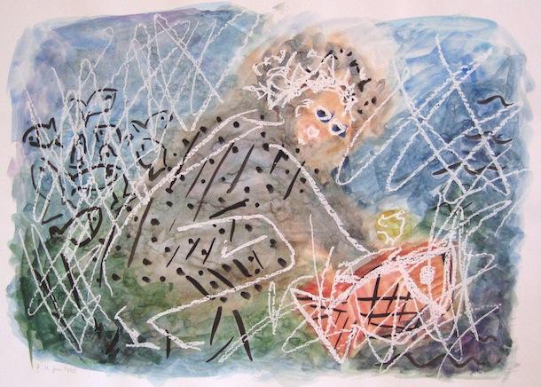 Homme et Poisson - Peintures - Hommes - Animal - Aquarelles - Animaux - Faunes