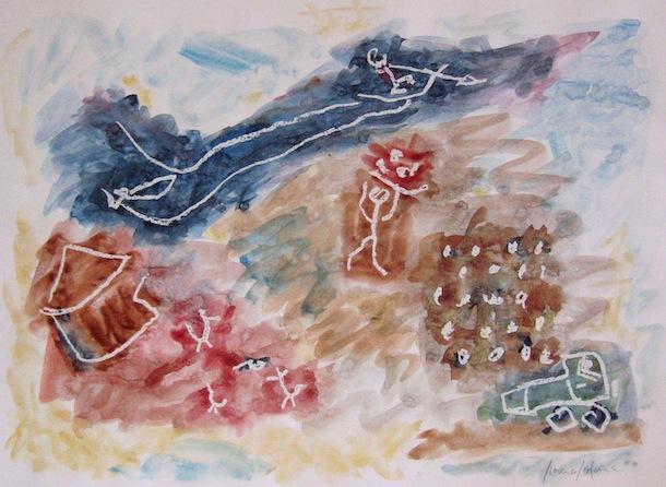 Maisons Champs Rivières - Peintures - Aquarelles - Hommes