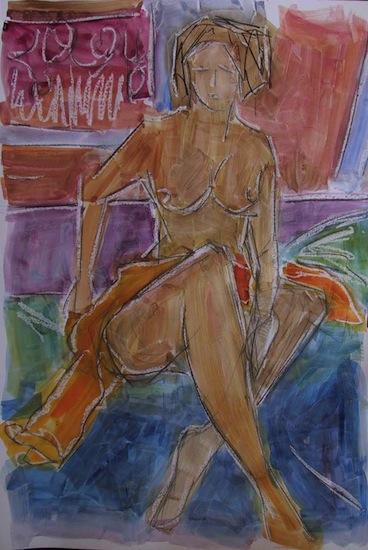 AQUARELLES -Peintures - Femmes - Nus - Nues - Primevère