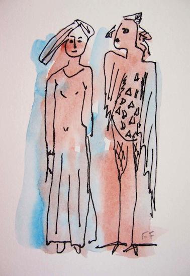 Sphinx - Aquarelles - Encre de Chine - Femmes