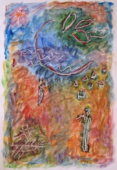 Village de pêcheurs - Peintures - Aquarelles - Hommes
