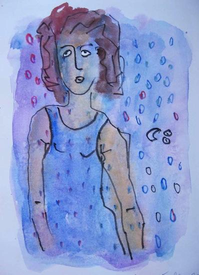 Jour de pluie - Aquarelles - Dessins - Encre de Chine - Femmes - Portraits - Eaux