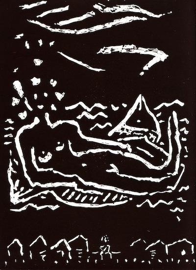 Linogravures - À travers l'eau des lacs - Femmes - Nus Nues