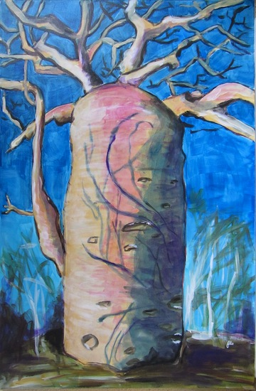 Baobab Rose - Natures - Peintures - Arbres - Acryliques - Flores - Afrique