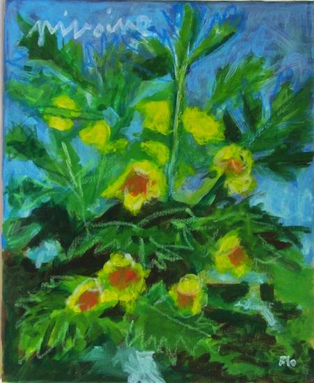 Pivoine - Natures - Fleurs - Acryliques - Flores - Verts - Jaunes