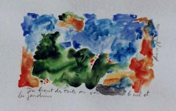 Roubaix du haut des toits - Peintures - Aquarelles - Encre de Chine - Villes - Oranges - Verts - Bleues - Bleus - Séries