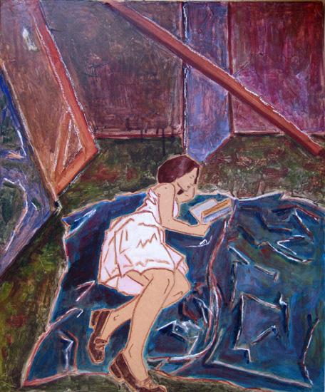 Femmes - Lectrices - Peintures - Virginie-IV-fond bleu