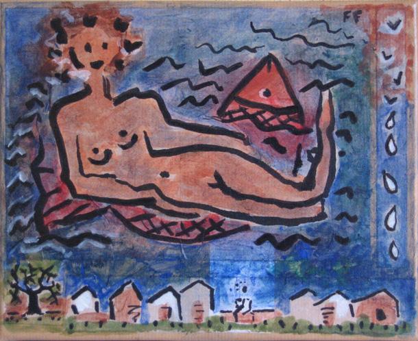 Femme - Papier marouflé - Encre - À travers l'eau des lacs