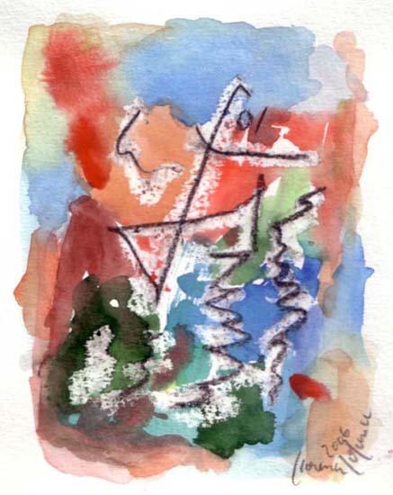 Aquarelle, Dessin, papier, Rouges