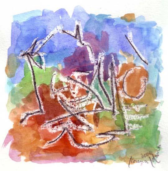 Aquarelle abstraite, Dessin,Papier, mars Oranges
