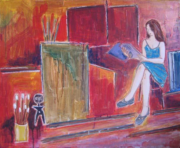 Femmes - Lectrices - peintures - Virginie-III-et Pinceaux