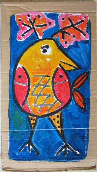 OiseauPoisson - Animal imaginaire - Bleu - Peinture acrylique