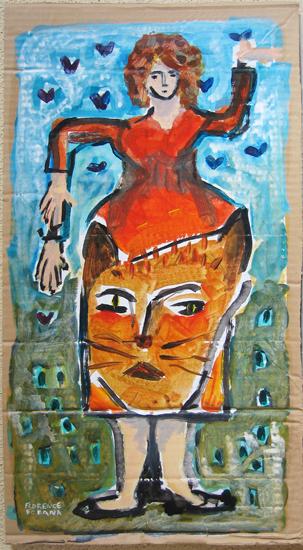 Trois mains et un leopard - peinture - Femme