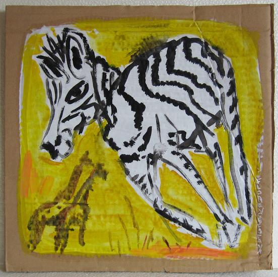 Zebra - Zebra - Giraffe - Jaune - carton